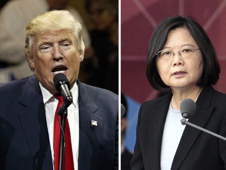 "After President-elect Donald Trump's conversation with Taiwan's President Tsai Ing-wen (right), and his subsequent suggestion that the ""One China"" policy could be reconsidered, a Chinese government spokesman warned that if the policy ""is interfered with or damaged, then the healthy development of China-U.S. relations and bilateral cooperation in important areas is out of the question."""