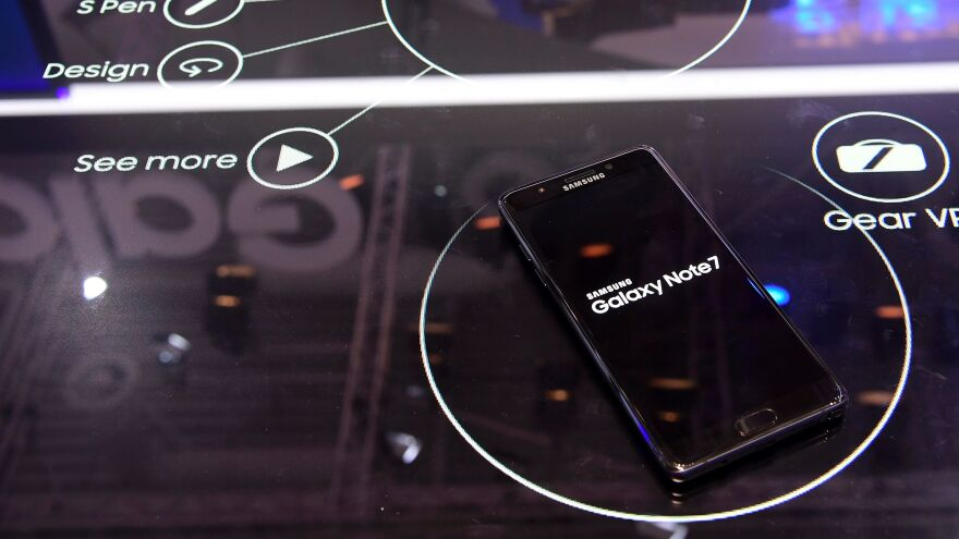 A Galaxy Note 7 smartphone is on display at the IFA electronics trade fair in Berlin on Sept. 2.