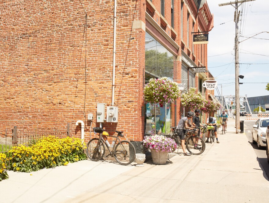 Cyclists camp outside a local cafe on Walnut Drive in Ashtabula, Ohio