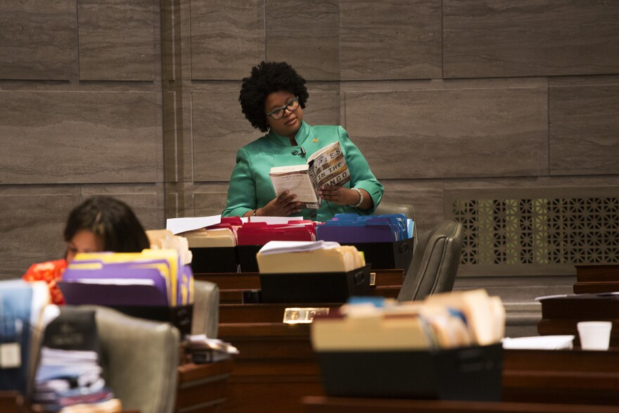 Senator Maria Chappelle-Nadal reads about the Manhattan Project out loud after the house voted down a bill to create a fund to buy out dozens of homeowners near the West Lake Landfill.