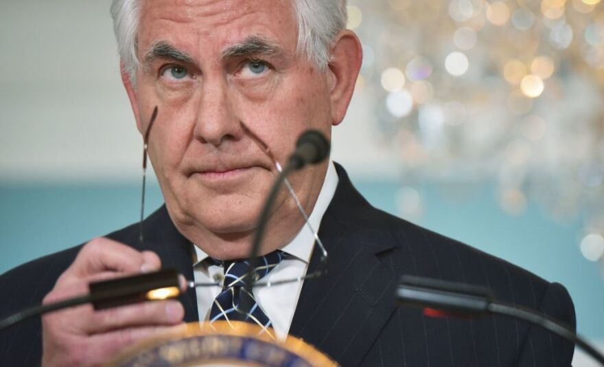 Secretary of State Rex Tillerson delivers a a statement on Iran last month at the State Department.