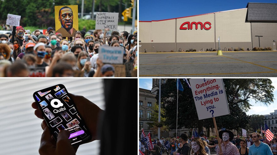 "(Clockwise from upper left) A ""Black Lives Matter"" protest in Brooklyn, N.Y., a shuttered AMC movie theater, a ""Stop the Steal"" protest in Atlanta, Ga., and the short-form streamer Quibi."