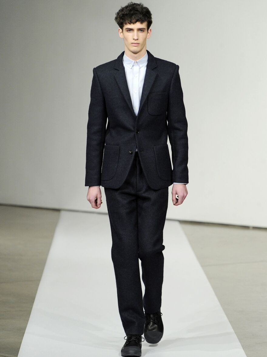 The Patrik Ervell Fall 2012 collection showed suits without ties for New York Fashion Week.