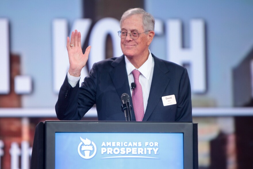 David Koch speaking at the 2015 Defending the American Dream Summit at the Greater Columbus Convention Center in Columbus, Ohio.