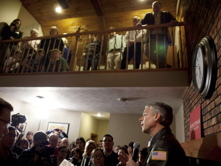Republican presidential candidate and former Utah Gov. Jon Huntsman campaigns at a house party in Bedford, N.H. on Jan. 8.