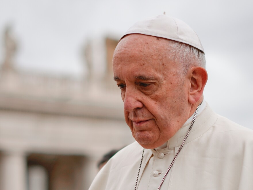 Pope Francis arrives in St. Peter's Square at the Vatican for his weekly general audience on Wednesday.
