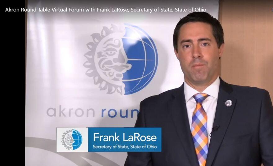 a screen capture of Frank LaRose