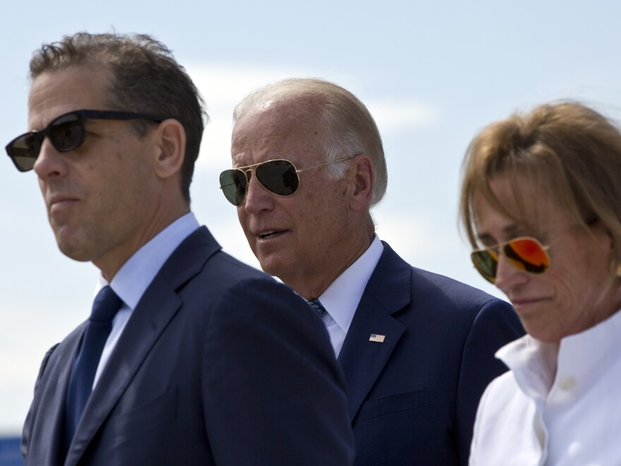 Then-Vice President Joe Biden, center, his son Hunter Biden, left, and his sister Valerie Biden Owens, right, in 2016. Hunter Biden is the subject of a new GOP report.