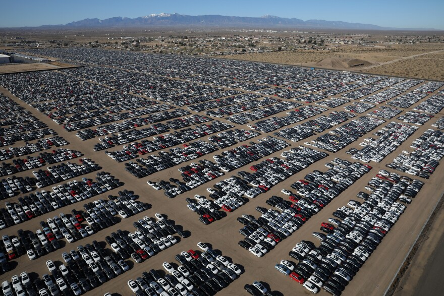 Thousands of Volkswagen cars await their fate in a California desert facility already well-known for storing old airplanes.