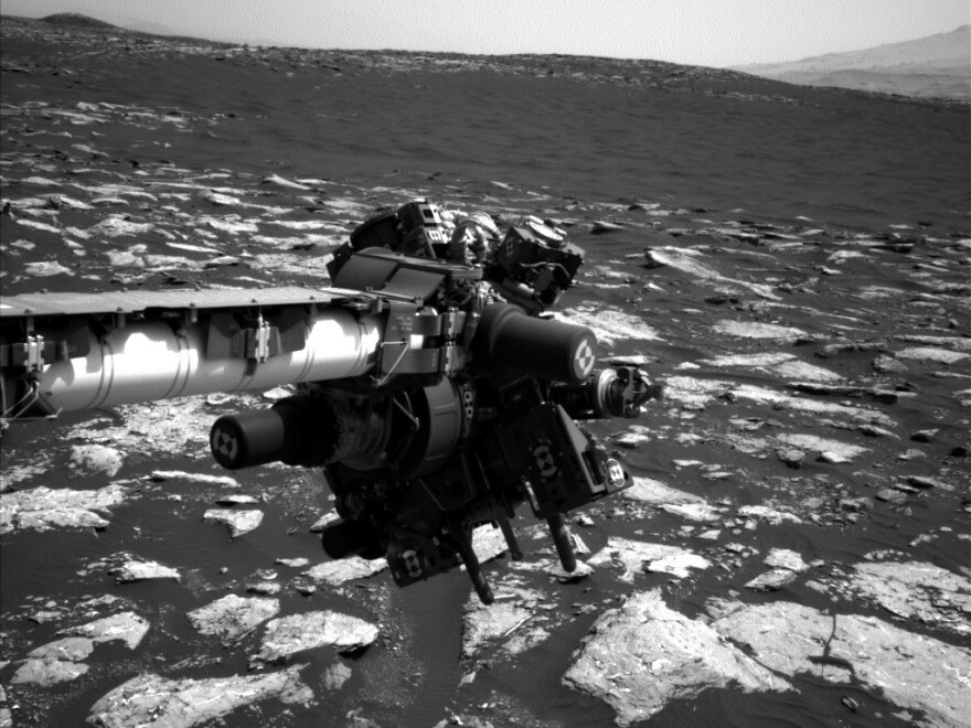 This is the Curiosity rover's robotic arm, a part of which has gotten stuck, endangering its scientific mission.