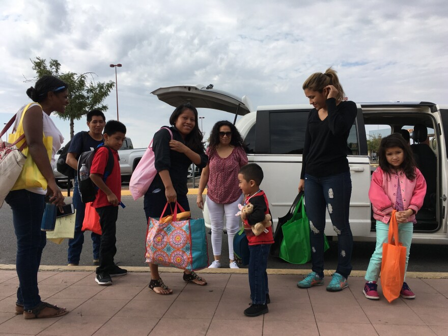 Reunited families at the airport in El Paso, Texas.