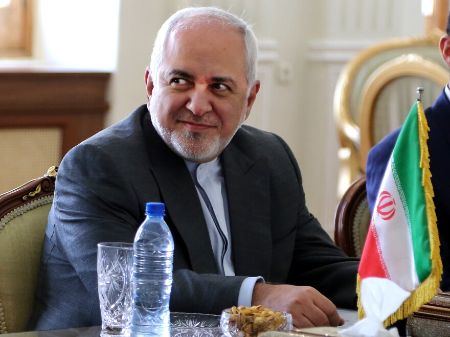 Iranian Foreign Minister Mohammad Javad Zarif attends a meeting in Oman last week. The U.S. has imposed sanctions on Zarif amid escalating tensions with Tehran.