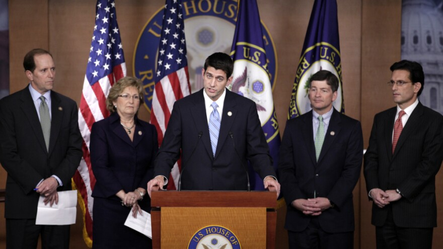 "House Budget Committee Chairman Paul Ryan of Wisconsin, pictured with fellow Republicans at a news conference, said this week that ""the biggest threat to Medicare is the status quo and the people defending it."""