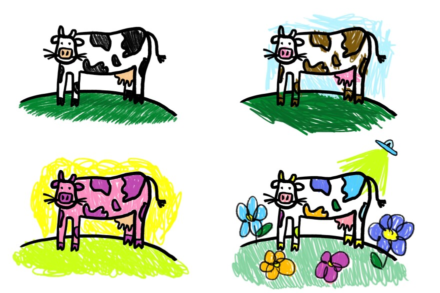 Creativity progressing through one image of a cow