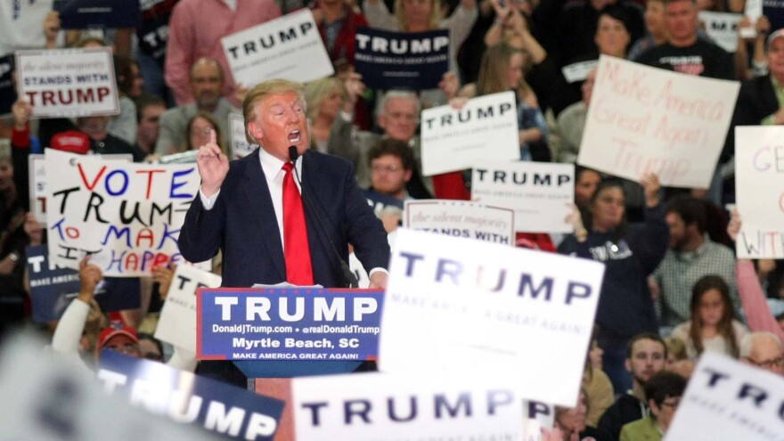 Then-Republican presidential candidate Donald Trump speaks during a campaign event at the Myrtle Beach Convention Center, in Myrtle Beach, S.C., on Nov. 24, 2015.
