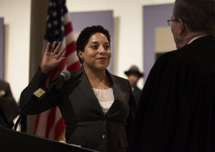 St. Louis Circuit Attorney Kim Gardner takes the oath of office at the Old Courthouse in January 2017.