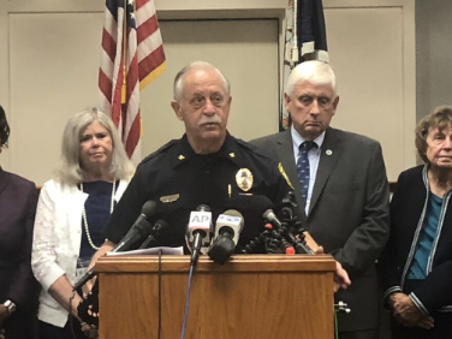 Virginia Beach Police Chief James Cervera addresses reporters at a press briefing on Sunday about the Virginia Beach shooting. Officials confirmed that the shooter resigned from his job just hours before the shooting.
