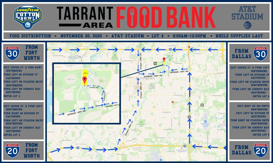 Map of Tarrant Area food bank location