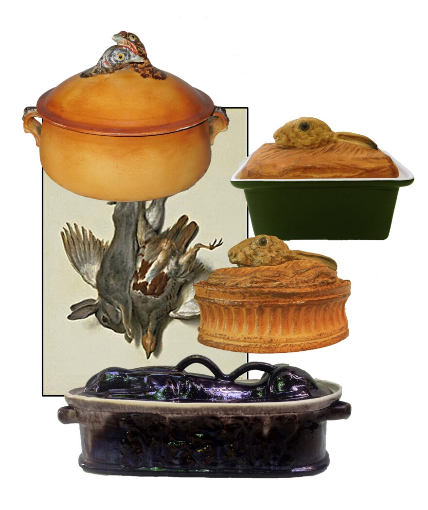 From top to bottom: Coq Au Vin En Croute oval casserole dish from France c. 1940, rabbit terrines c. 1940, hare terrine c. 1870.