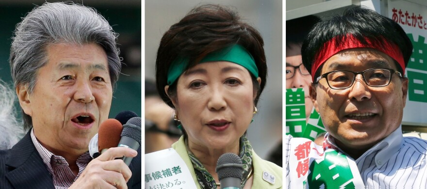 The top three candidates for the Tokyo gubernatorial election (from left) journalist Shuntaro Torigoe, former defense minister Yuriko Koike and former rural governor Hiroya Masuda.