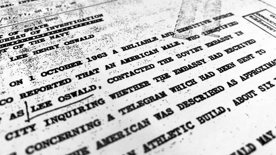 """Part of a file from the CIA, dated Oct. 10, 1963, details """"a reliable and sensitive source in Mexico"""" report of Lee Harvey Oswald's contact with the Soviet Union embassy in Mexico City, that was released for the first time on Friday, Nov. 3, 2017, by the National Archives."""