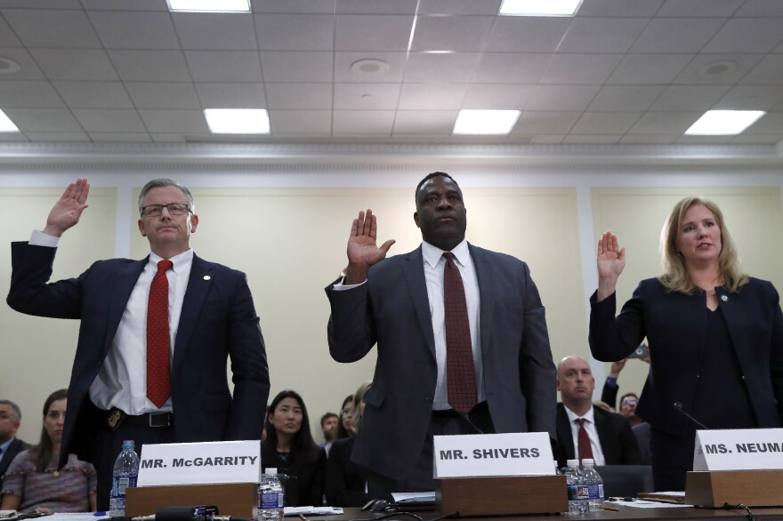 Michael McGarrity, FBI Assistant Director of the Counterterrorism Division; Calvin Shivers, FBI Deputy Assistant Director in the Criminal Investigative Division; and Elizabeth Neumann, an assistant secretary at the Department of Homeland Security, answer lawmakers' questions on Tuesday about the Trump administration's response to far-right extremism.
