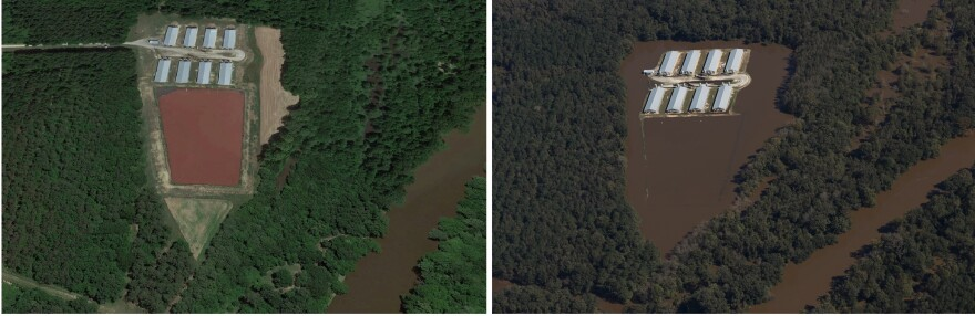 An aerial view of a hog farm in North Carolina. The shot on the right shows a flooded manure lagoon after Hurricane Matthew.