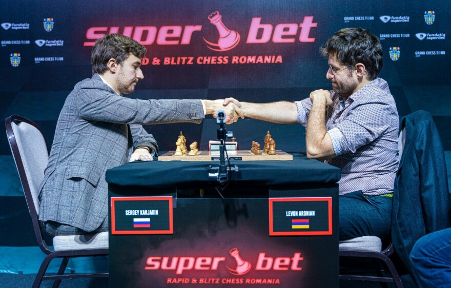 GM Sergey Karjakin and GM Levon Aronian prepare to play in the Grand Chess Tour 2019. (November)