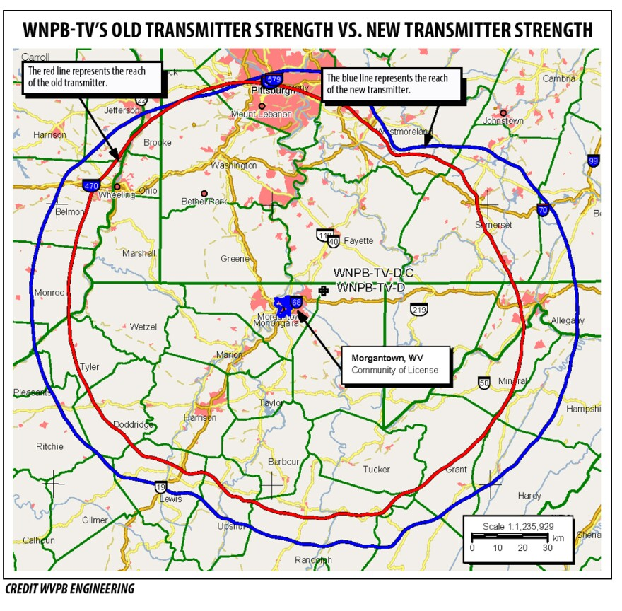 This map shows the new and old power strengths for the WNPB-TV transmitter located at Coopers Rock State Park.