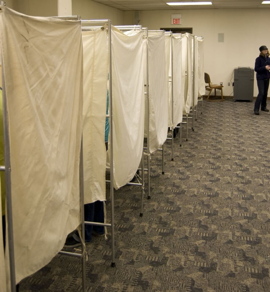 Voting booths at the Missoula Library.