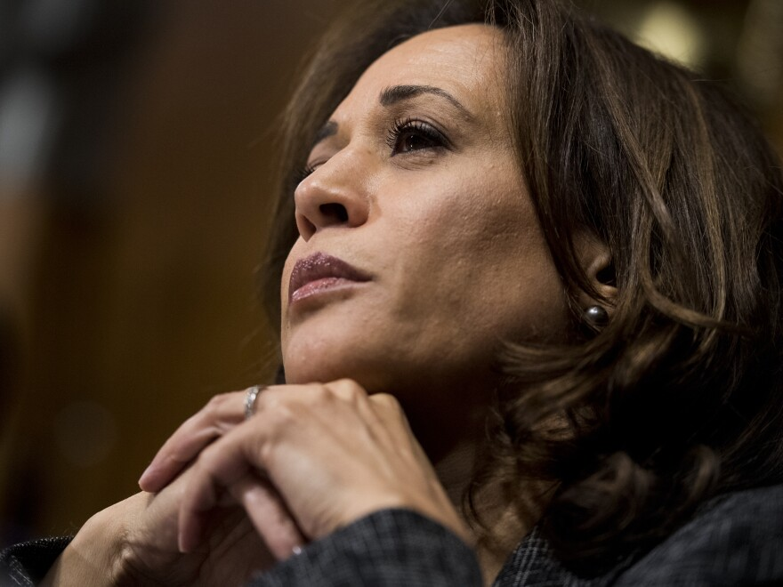 Sen. Kamala Harris, D-Calif., listens to testimony at a Senate Judiciary Committee hearing in September. Harris, along with Sens. Cory Booker, D-N.J., and Tim Scott, R-S.C., proposed the anti-lynching bill passed by the Senate on Wednesday.