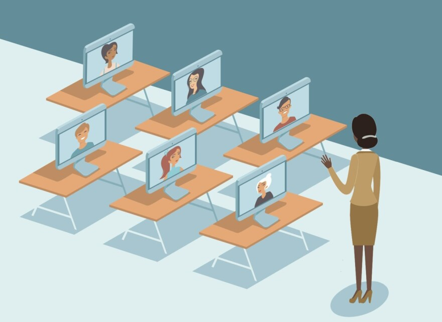 Online education duringquarantine COVID-19 coronavirus disease outbreak concept