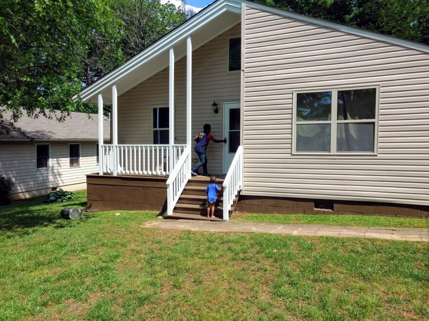 Gwen Sherrill has lived in her house since it was built in 1991, but couldn't keep up with major repairs as she raised grandchildren and great grandchildren. A new town program with Our Towns Habitat has helped with repairs.