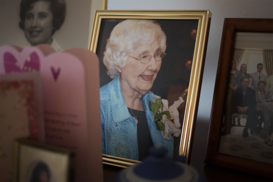 A photograph of Dorothy Hunter on her 100th birthday sits among cards and family heirlooms at her home in Ballwin. (March 2017)