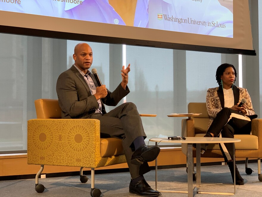 Wes Moore (left), author and CEO of the Robin Hood Foundation spoke with Charli Cooksey (right), CEO of WEPOWER about ways to dismantle poverty not only in St. Louis, but nationally.