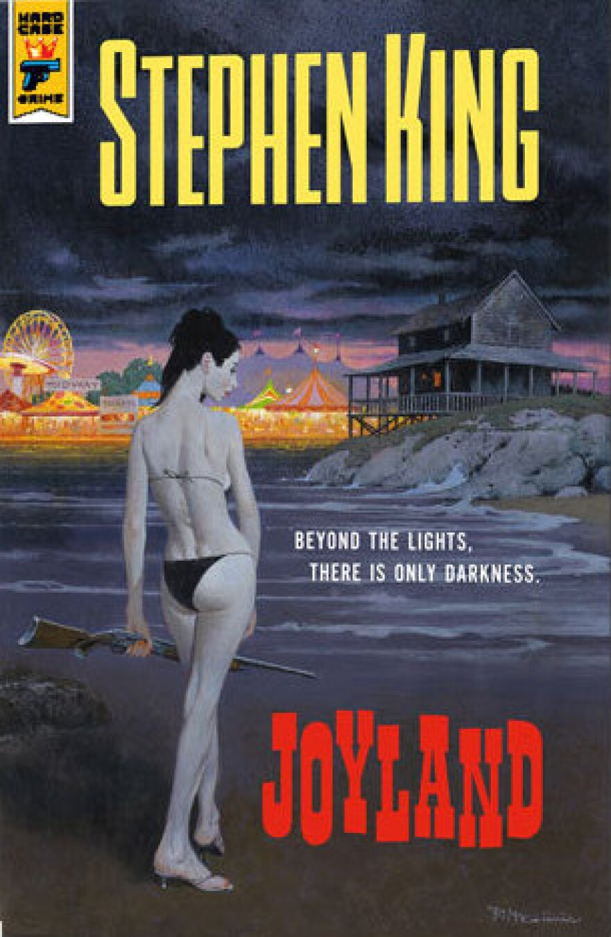 King's publisher Hard Case Crime features splashy covers that harken back to the era of old pulp fiction paperbacks. Above is one of the two covers designed for <em>Joyland.</em>