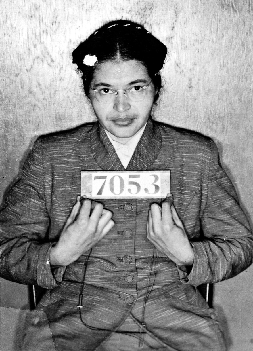 Rosa Parks is shown in her booking photo after her arrest in 1955. Her act of civil disobedience sparked the Montgomery bus boycott.