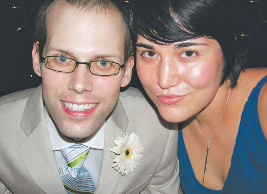 Andrew Ladd and Fumiko Chino at their wedding in 2006, after his cancer diagnosis. Ladd died the following year, leaving behind hundreds of thousands of dollars in medical debt.