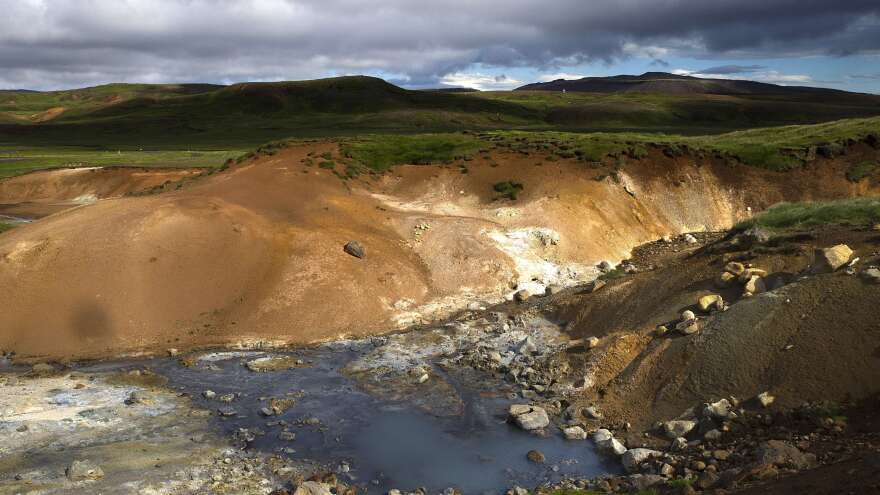 View of Seltun geothermal field in Krysuvik on the Reykjanes peninsula in southwestern Iceland on July 5, 2014.