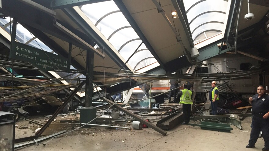 A portion of the roof collapsed after a New Jersey Transit train crashed into the platform at Hoboken Terminal on Thursday morning.
