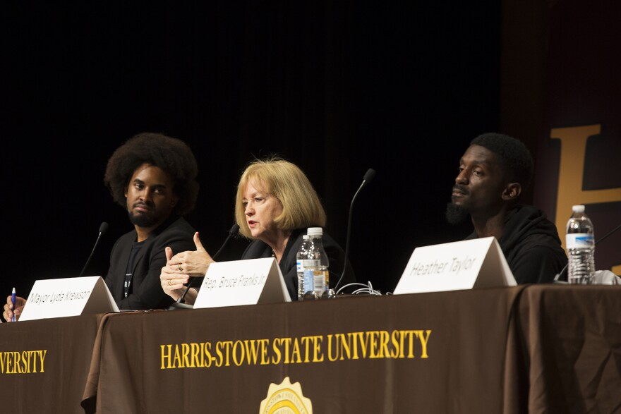 Mayor Lyda Krewson answers questions alongside panelists David Dwight, of the Ferguson Commission, and State Rep. Bruce Franks Jr. Oct. 11, 2017
