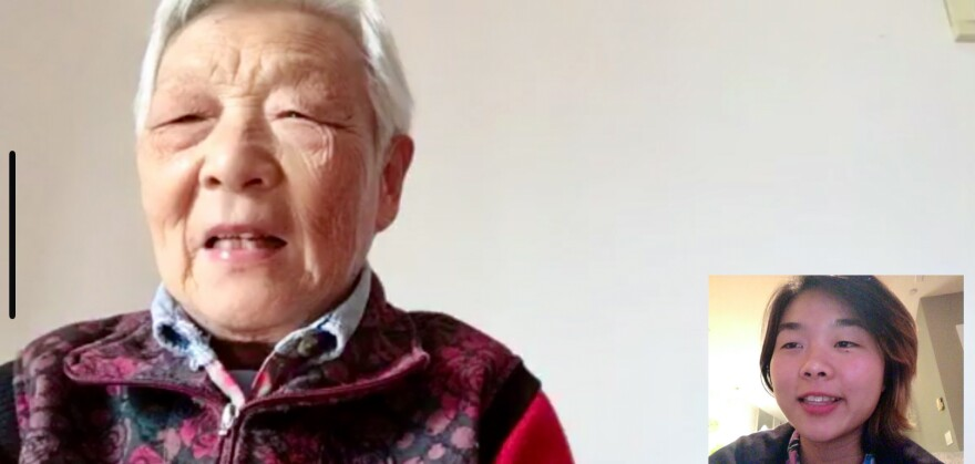 Screengrab of a video chat between Laura Gao, right, and her grandmother Zhou Nai.