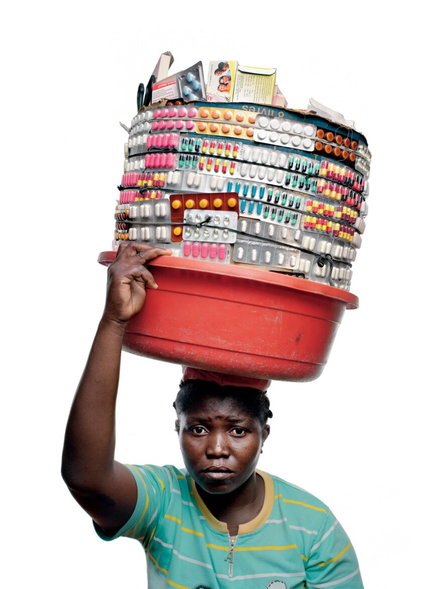 Claudine Jourdain, a 33-year-old from southern Haiti, sells medicine on the streets of Port-au-Prince.