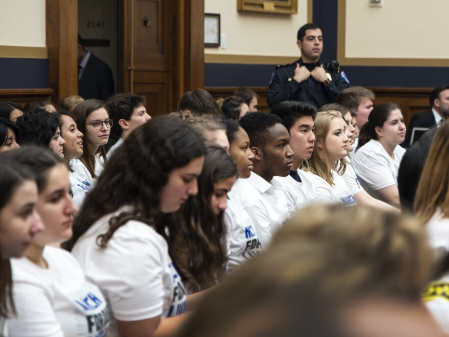 "Students and ""March for Our Lives"" participants listen to the House Judiciary Committee hearing on gun violence at Capitol Hill."