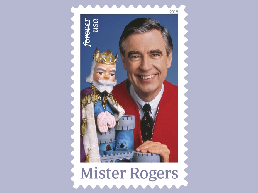 The U.S. Postal Service plans a March release of this postage stamp featuring Fred Rogers and his King Friday XIII puppet from the PBS children's television series <em>Mister Rogers' Neighborhood.</em>