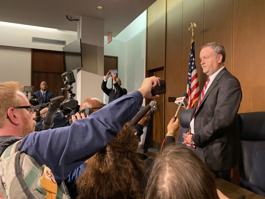 St. Louis County Executive Sam Page answers question on Tuesday, Oct. 29, 2019, from a group of reporters. Page is poised to appoint new members of the St. Louis County Board of Police Commissioners.