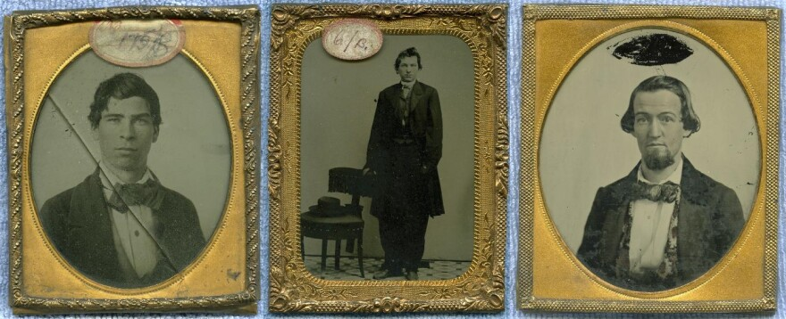 A composite image of three tintype mug shots from the 1850s and 1860s.