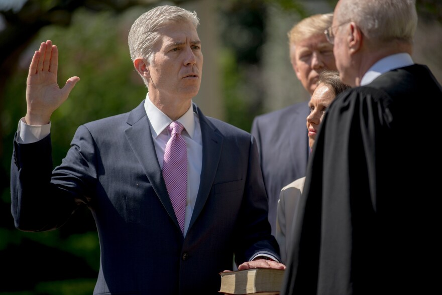 Justice Anthony Kennedy administers the judicial oath for Judge Neil M. Gorsuch during a public swearing-in ceremony at the White House on Monday.