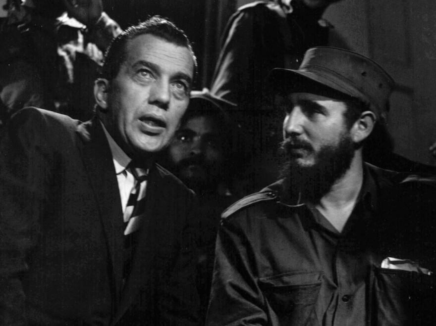 Fidel Castro talks with Ed Sullivan, television variety show host and New York <em>Daily News</em> columnist, Jan. 6, 1959.