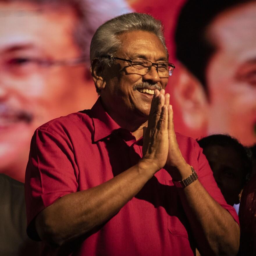 Sri Lankan presidential candidate Gotabaya Rajapaksa on stage Wednesday in Homagama.